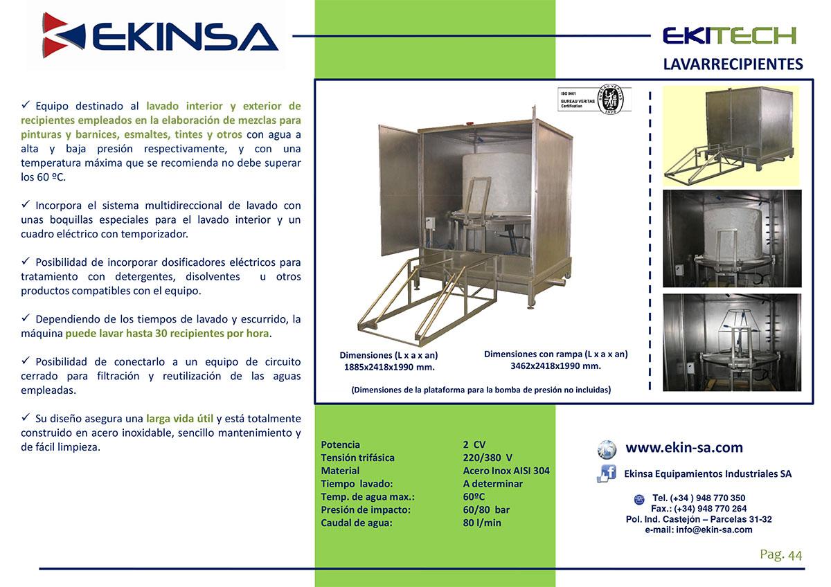 Lavarecipientes Ekinsa - ficha