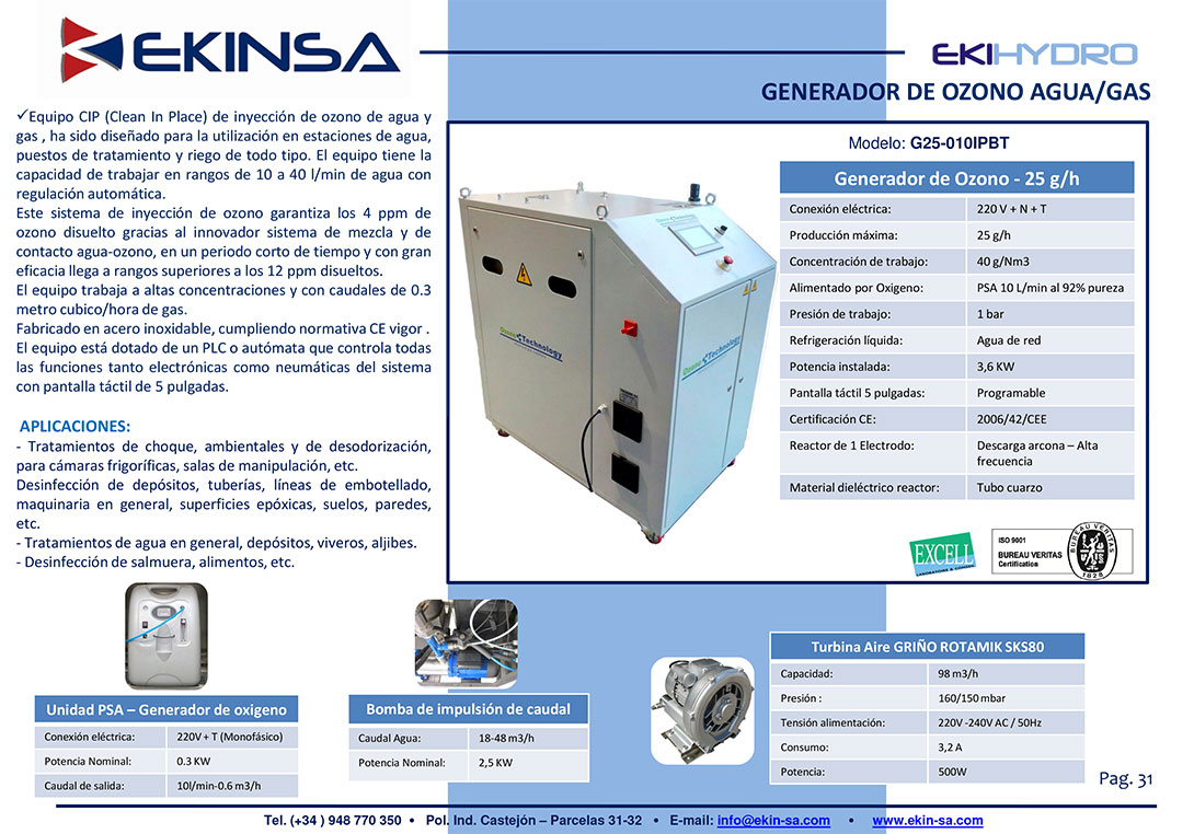 Generador de Ozono Industrial-Ekinsa